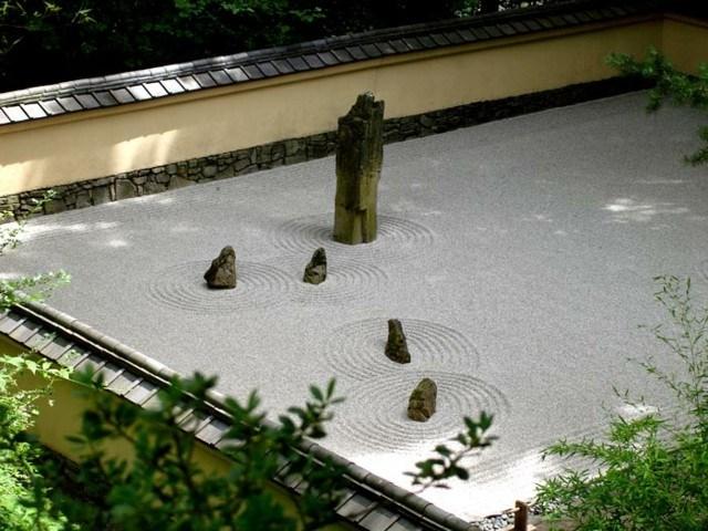 plantas estanque zen japones tronco