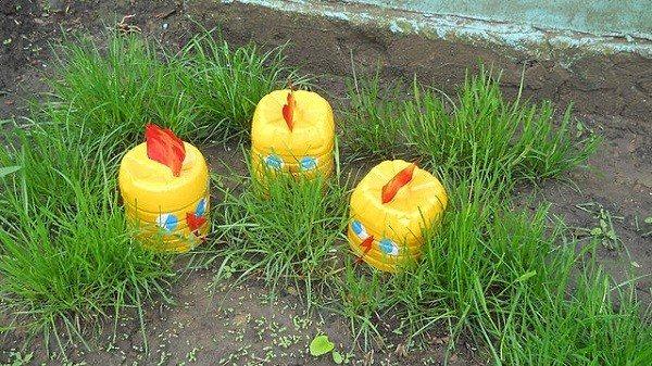 plastico envases pollos jardineria decoracion