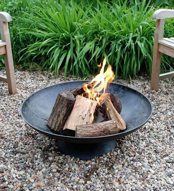 plato de fuego negro de acero para jardin