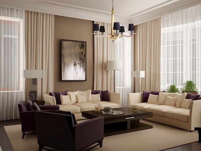 Decoración de interiores muebles purpura y espejo grande