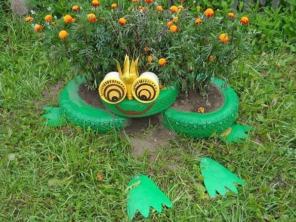 rana neumaticos jardin flores decoracion manualidades