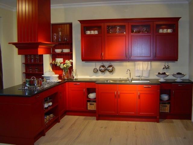retro muebles rojo idea interesante atrevida cocina