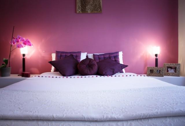 romanticismo dormitorio purpura bonito iluminacion moderno