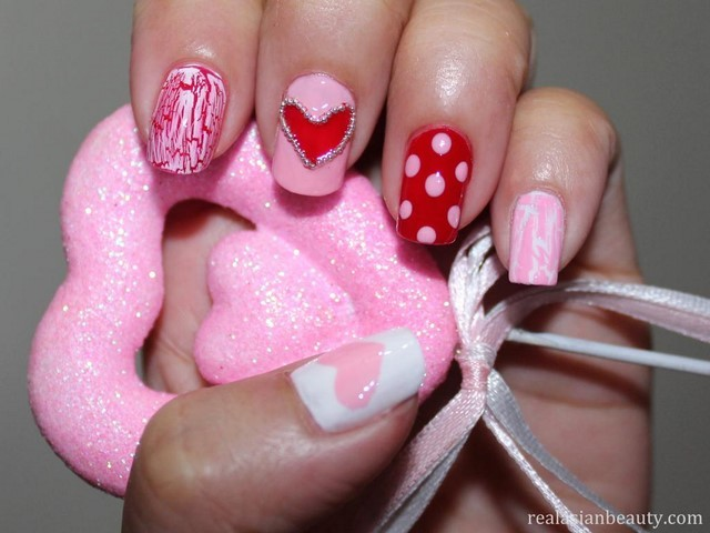 rosa rojo puntos ideas uñas rayas