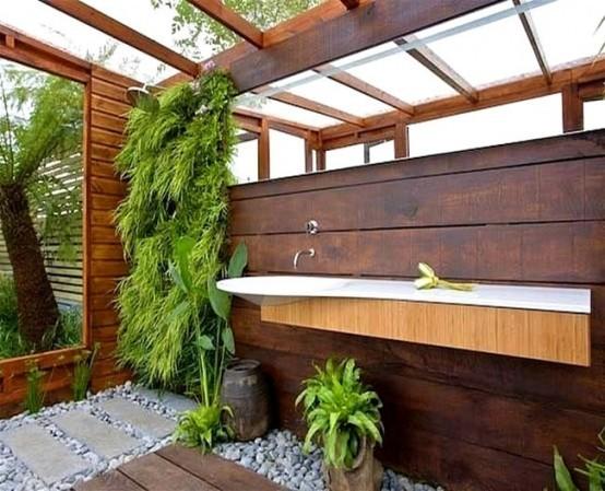 rustico plantas muebles madera maciza base roca