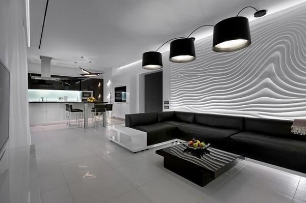 salón blanco negro pared relieves
