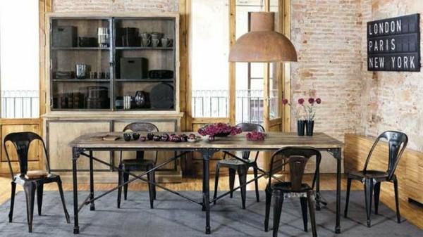 salón bohemio pared ladrillos mesa