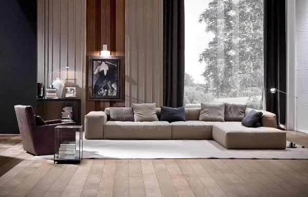 salón bonito moderno madera suelo