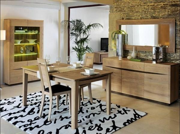 salón comedor alfombra piel madera