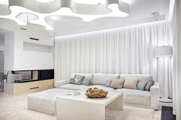 salón minimalista blanco moderno cortinas