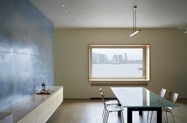 salón minimalista mesa comedor cristal