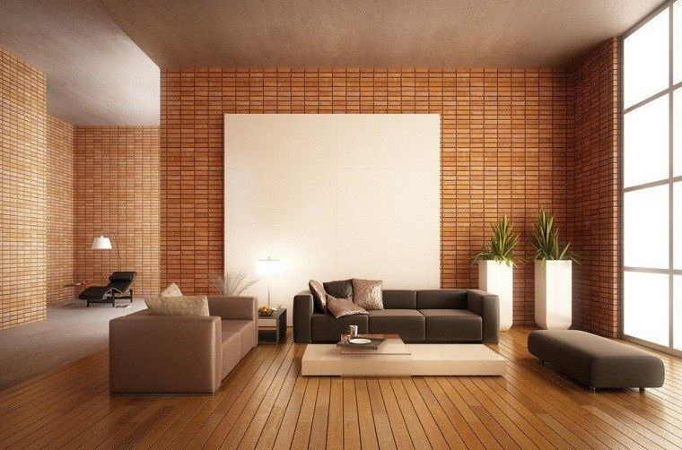 salón minimalista pared ladrillos