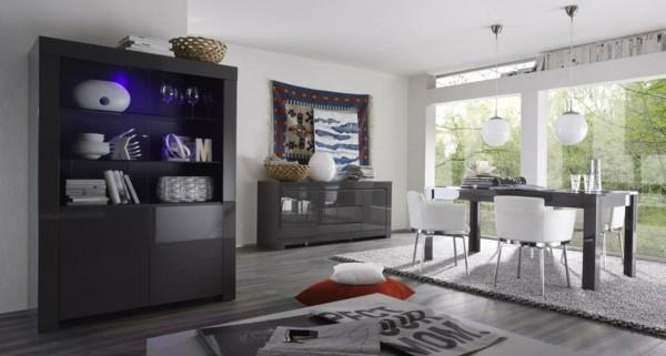 salón moderno luz violeta mueble