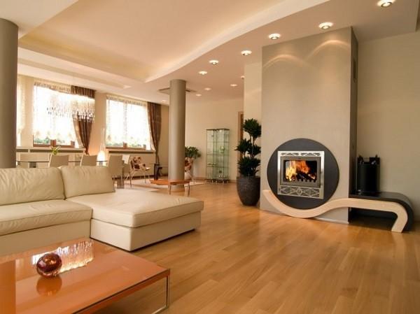 sala estupenda chimenea redonda sofá