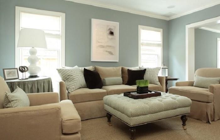 salon acogedor muebles comodos pared azul
