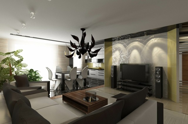 salon amplio sombrio muebles cuero diseño lampara interesante