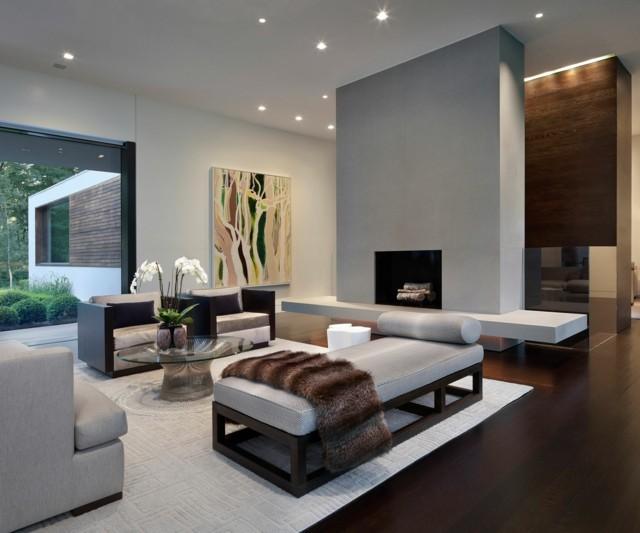 salon amplio suelo marron bonito moderno diseño