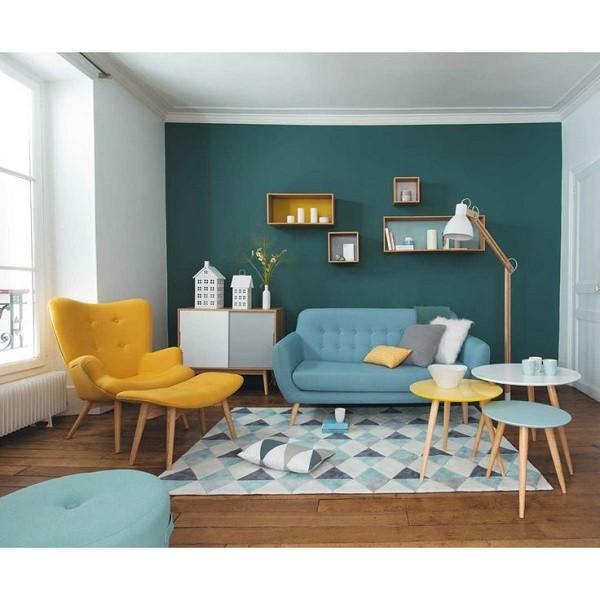 salon azul amarillo celeste muebles