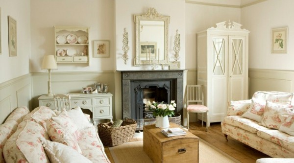salón beige shabby chic chimenea
