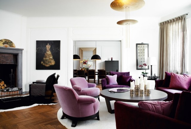 salon butacas purpura claro diseño oscuro suela marron