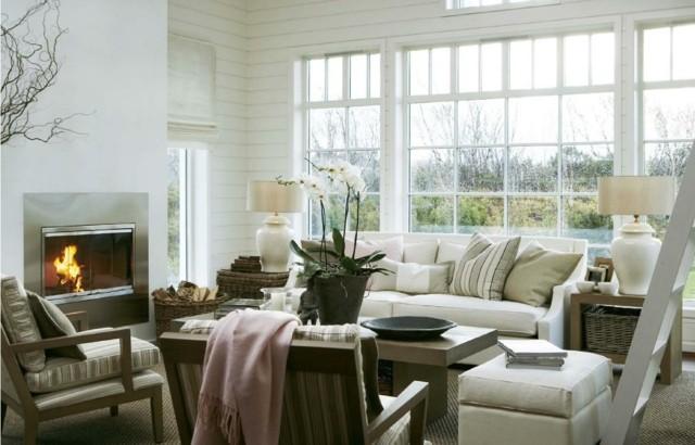 salon chimenea blanco luminoso acogedor doseño comodo