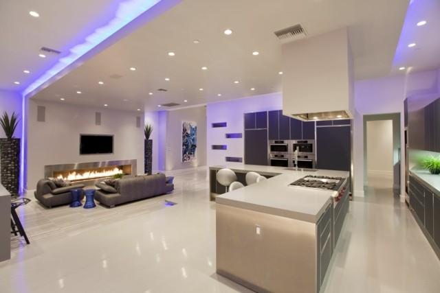 salon cocina moderno iluminados lamparas led