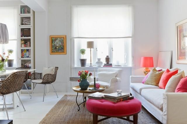 salon combinacion rosa blanco sofa butaca mesa