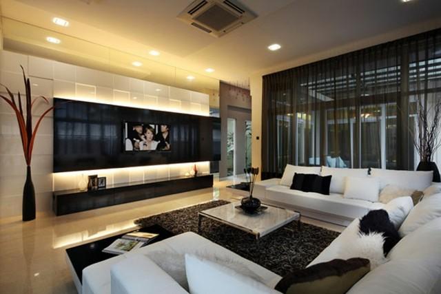 salon contemporaneo blanco negro combinacion diseño amplio