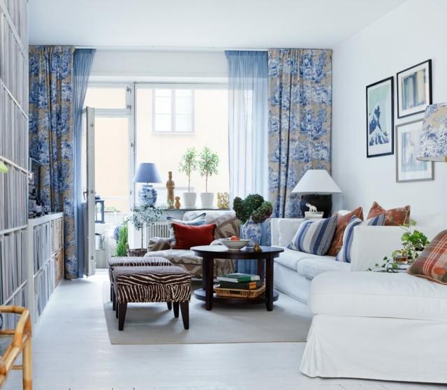 salon cortinas diseño azul motivos bonitos taburetes zebra