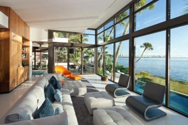 salon cristales muebles comodos diseño vista preciosa