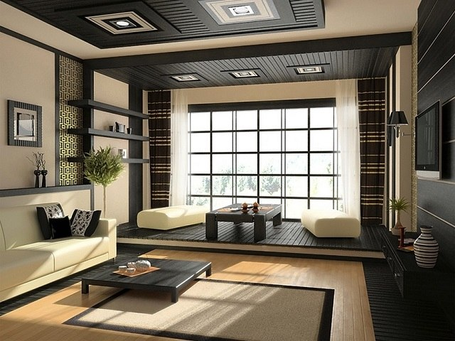 salon decorado estilo zen simple bonito