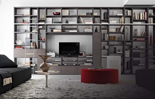 salon estantería biblioteca grande moderno