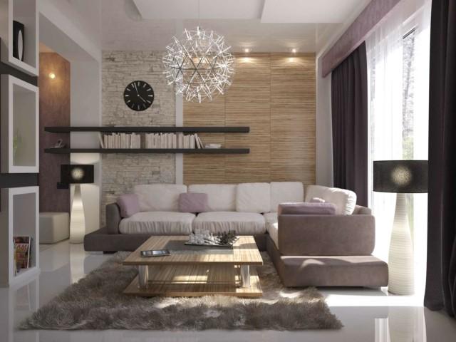 salon estanterias alfombra pelos rosa blanco moderno combinacion