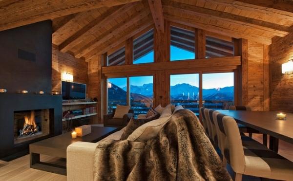 salon estar muebles cuero ventanal vista preciosa