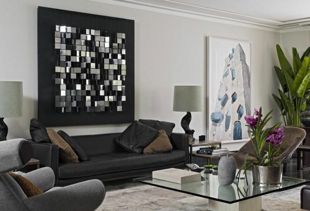 salon idea moderna mesa cristal maceta bonito acero