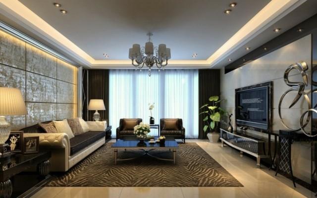 salon moderno alfombra diseño zebra mesa cristal