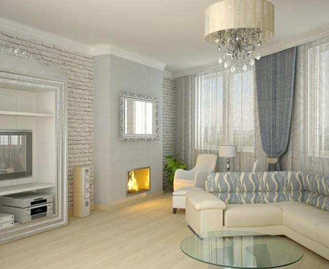 salon moderno blanco azul espejo diseo decoracion