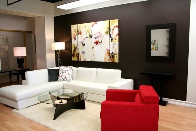 salon moderno cuadro interesante muebles blanco rojo diseño