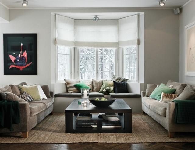 saln moderno inspirado ventanal luminoso muebles gris diseo