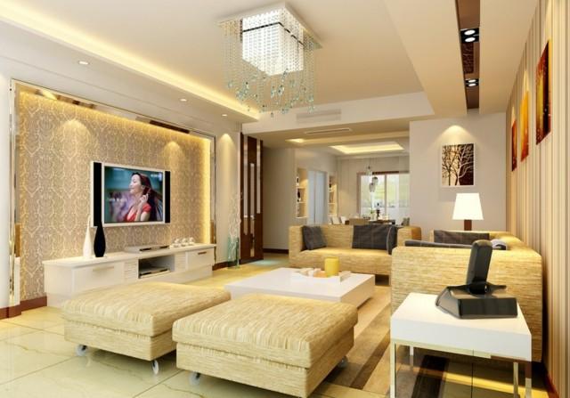 salón moderno lampara lagrimas cristal amarillo taburetes diseño ruedas