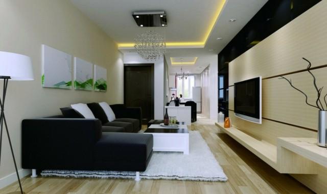 salón moderno largo muebles negro diseño comodo