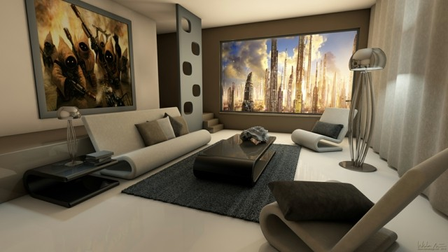 salón moderno muebles diseño bonito innovador marron