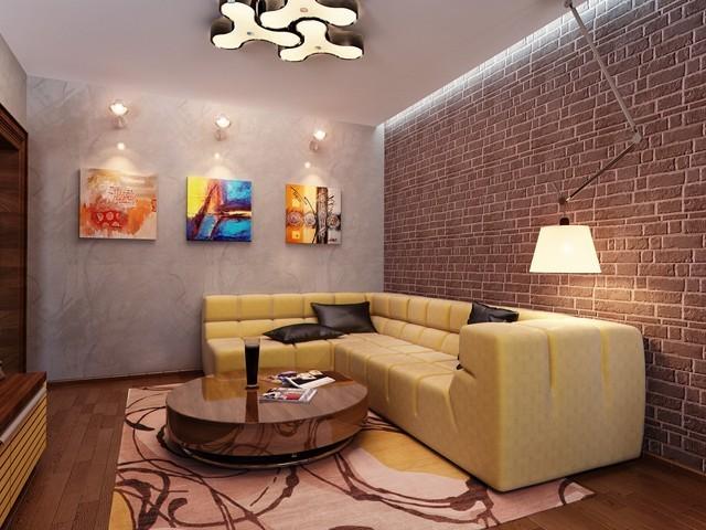 salon moderno pared ladrillo idea exelente bonita