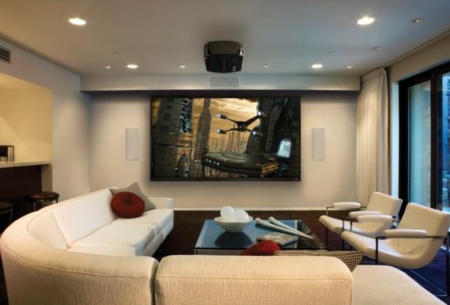 salón moderno diseño relevisor grande muebles blancos precioso bonito