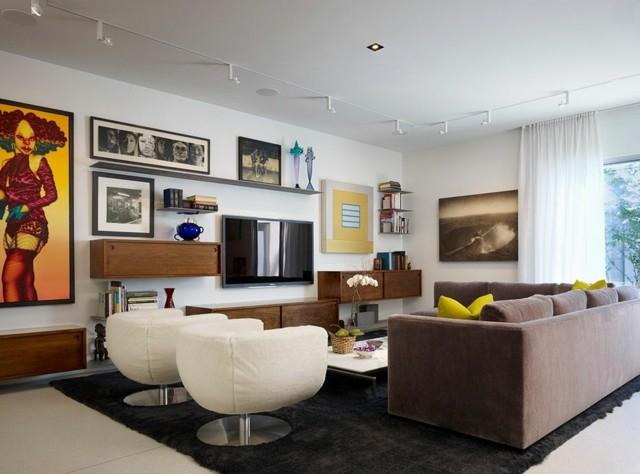 salón moderno sillones estilo blancos alfombra diseño negra