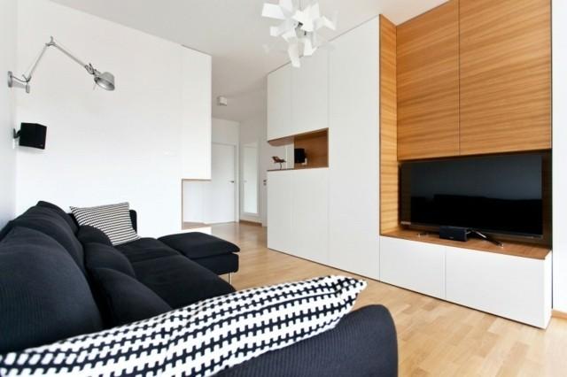 salon modesto diseño muebles negros lampara moderna