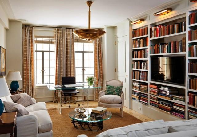 salon precioso comodo estanterias libros mesa cristal idea interesante diseño
