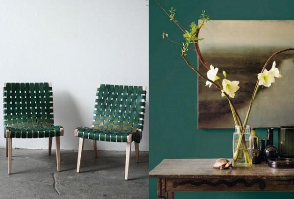 salon sillas pared verde oscuro