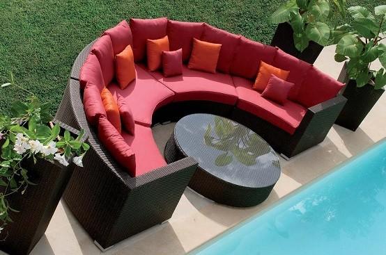 semicirculo acolchonada jardin sofa moderno