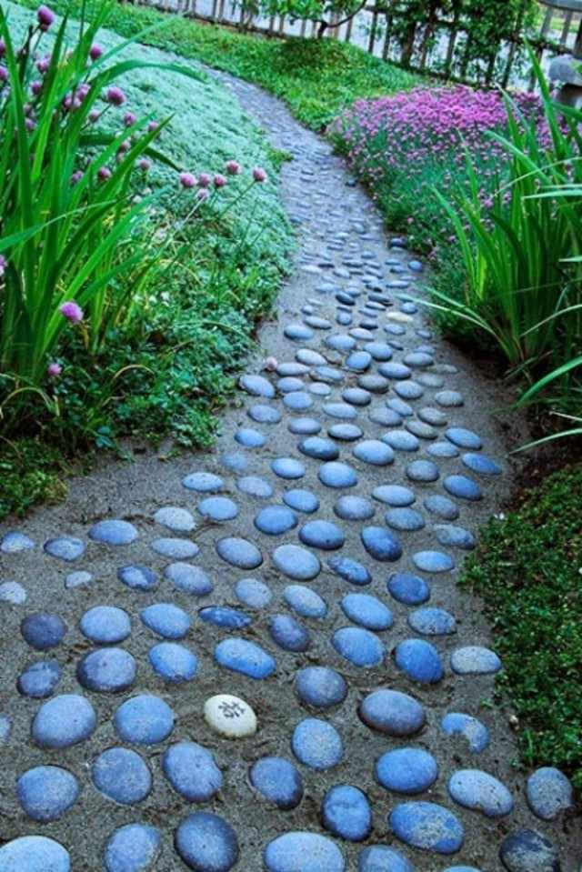 senderos piedra redonda jardin chino